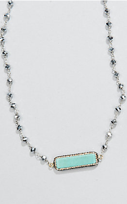 Laminin Teepee Silver Rondelle Beaded and Turquoise Stone Necklace