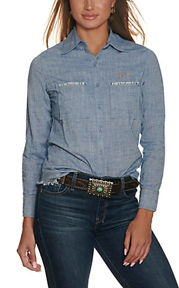 Kimes Ranch Women's Temple Chambray With Raw Edge Pockets Long Sleeve Shirt