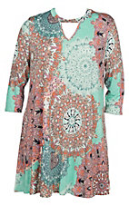 James C Women's Mint Marsala Print 3/4 Length Sleeve Dress - Plus Size