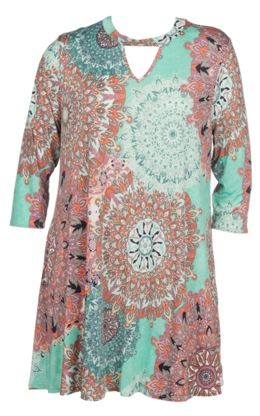 Top James C Women\'s Mint Marsala Print 3/4 Length Sleeve Dress - Plus Size free shipping bFyBLlv1