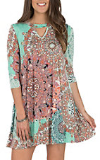 James C Women's Mint Marsala Print 3/4 Length Sleeve Dress
