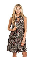 James C Women's Black, Brown & Coral Highneck Sleeveless Keyhole Dress