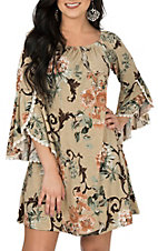 James C Women's Taupe Floral Split Bell Sleeve Dress