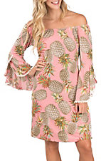 James C Women's Flutter Sleeve Pineapple Print Dress