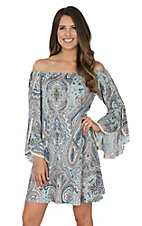 James C Women's Mint Damask Print Split Bell Sleeve Lace Trim Dress