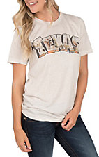Women's Oatmeal Texas Postcard Crew Neck T-Shirt