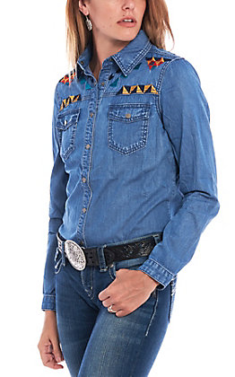 Montana Co. Women's Embroidered Denim Button Down Shirt