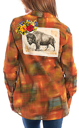 Montana Co. Women's Plaid Buffalo Patch Embroidered Shirt