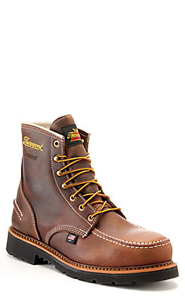 Thorogood Men's Brown Crazyhorse Waterproof Metguard Steel Moc Toe Lace Up Work Boots