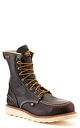 "Thorogood Men's Dark Chocolate Waterproof Moc Steel Toe 8"" Lace Up Work Boots"