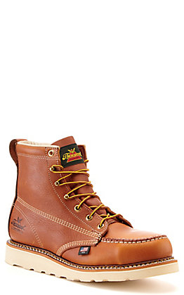 Thorogood Men's Tobacco Brown Steel Moc Toe MAXwear Wedge Lace Up Work Boots