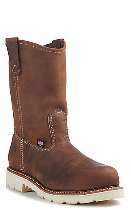 Thorogood Men's American Heritage Brown Crazy Horse Round Steel Toe Wellington Work Boot