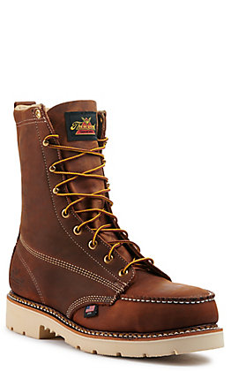 Thorogood Men's American Heritage Crazy Horse Brown Moc Steel Toe Lace Up Work Boot