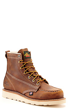 Thorogood Men's MAXWear Brown Crazy Horse Wedge Moc Toe Lace Up Work Boot