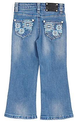 Wired Heart Toddler Girls' Turquoise Aztec Embroidered Pocket Boot Cut Jeans
