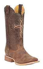 Tin Haul Men's Brown with Tan Cross and Decorative Sole Western Wide Square Toe Boots