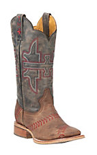 Tin Haul Brown with Blue Upper Slugger Western Square Toe Boots