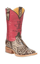 Tin Haul Women's Brown and Cream Paisley with Red Upper Western Square Toe Boots
