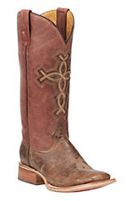 Tin Haul Women's Brown with Cross Western Square Toe Boots