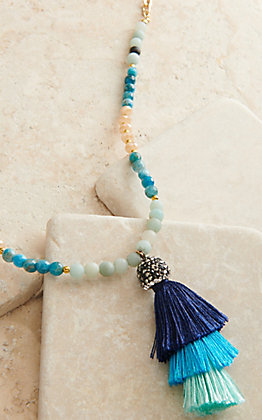 Laminin Gold Chain with Multi-Colored Beads and Multi-Blue Tassel Necklace