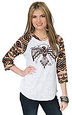 Ali-Dee Collection Women's White Thunderbird 3/4 Aztec Raglan Sleeve Top