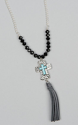 Laminin Thundering Black Rondelle Beaded Necklace
