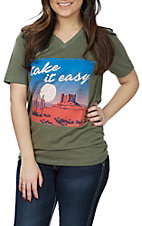 Women's Olive Take It Easy V-Neck T-Shirt