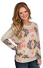 Karlie Women's Tan Multicolor Aztec Print Long Sleeve Top
