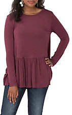 Wishlist Women's Wine Peplum Long Sleeve Casual Knit Top