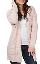 Wishlist Women's Light Pink Twig Cable Knit Cardigan