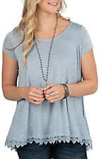 Wishlist Women's Light Blue Short Sleeve Knit Top