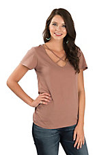 Wishlist Women's Burlwood Criss Cross V-Neck Short Sleeve Casual Knit Shirt