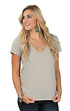 Wishlist Women's Heather Grey Criss Cross V-Neck Short Sleeve Casual Knit Shirt