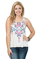 Karlie Women's White with Multicolor Aztec Print Racer Back Burnout Tank