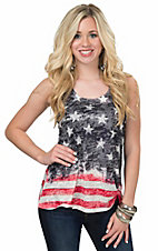 Karlie Women's Flag Burnout Tank Top