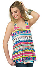 Karlie Women's White with Multicolor Aztec Stripe Racer Back Burnout Tank