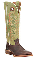 Tony Lama Men's Chocolate with Green Upper Cowhide Western Square Toe Boots