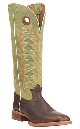 Tony Lama 3R Gonzales Men's Chocolate with Green Upper Cowhide Western Square Toe Boots