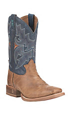 Tony Lama Men's 3R Collection Tan with Navy Upper Cowhide Western Square Toe Boots