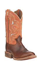 Tony Lama Men's 3R Brown with Orange Upper Cowhide Western Round Toe Boots