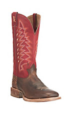 Tony Lama Men's Brown with Red Upper Cowhide Western Square Toe Boots