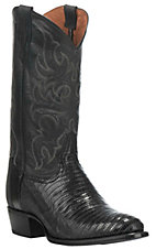 Tony Lama Men's Black Lizard Round Toe Exotic Western Boots