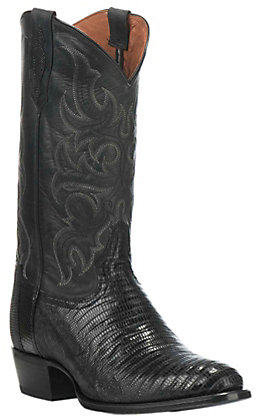 Tony Lama Men's Black Lizard R-Toe Exotic Western Boots
