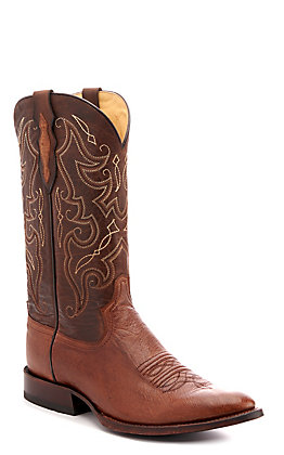 Tony Lama Men's Walnut Smooth Ostrich Round Toe Western Boots