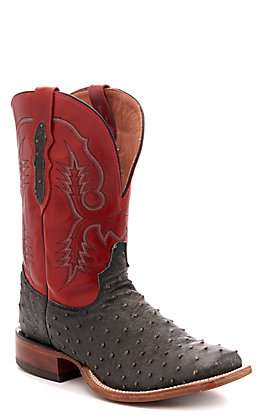 Tony Lama Men's Grey Desert & Red Full Quill Ostrich Exotic Western Square Toe Boots
