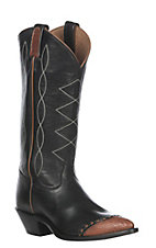 Tony Lama Women's Retro Black Lizard Wingtip Boot