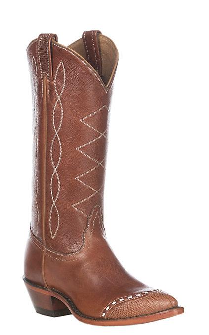 eec82fb3759 Tony Lama Women's Retro Peanut Lizard Wingtip Boots