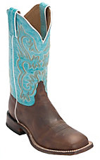 Tony Lama Women's Americana Worn Brown with Turquoise Top Square Toe Western Boot