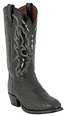 Tony Lama Men's Black Smooth Ostrich U-Toe Exotic Western Boots