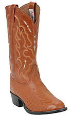 Tony Lama Men's Peanut Brittle Brown Smooth Ostrich U-Toe Exotic Western Boots